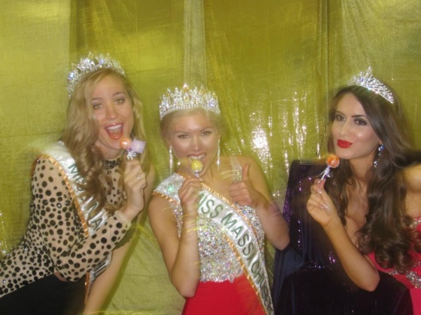 Celebrating after their win with the best tasting lollipop in the world - MA US International pageant