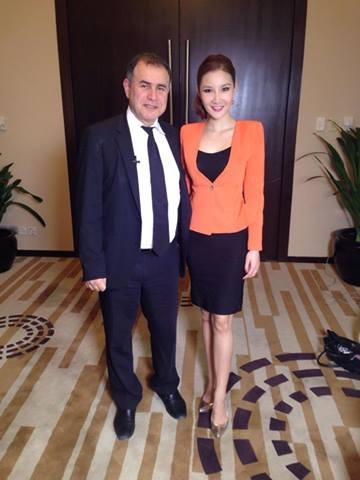 Miss New York USA 2009 Tracey Chang interviews Dr Doom Nouriel Roubini on CNBC Asia